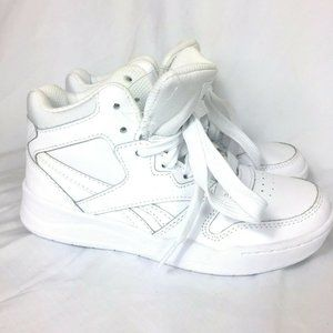 Reebok Kids Leather High Tops Size 1 White NEW